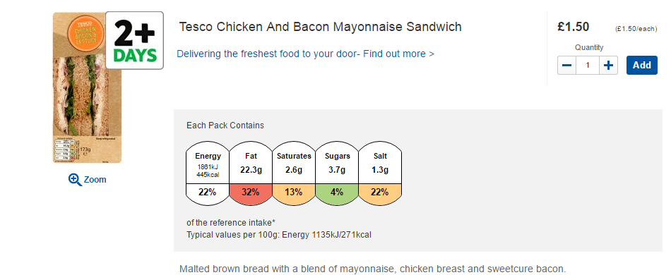 Tesco chicken and bacon mayonnaise sandwich