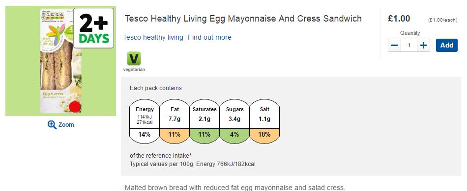 Tesco egg mayonnaise and cress sandwich