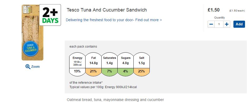 Tesco tuna and cucumber sandwich